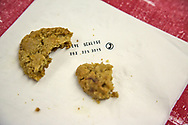 """Homemade cookie on a napkin with Congresman Steve Scalise phone number on it given out at the """"Ear of Steve"""" fundraising event in Abita Springs, Louisiana on June 11."""