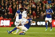Swansea city's Wilfried Bony scores his teams 1st goal.  Barclays Premier league match, Swansea city v Leicester city at the Liberty stadium in Swansea, South Wales on Saturday 25th October 2014<br /> pic by Andrew Orchard, Andrew Orchard sports photography.