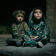 Portrait of two young Wakhi girl. The traditional life of the Wakhi people, in the Wakhan corridor, amongst the Pamir mountains.