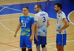 Jani Kovacic of Slovenia, Ziga Stern of Slovenia and Mitja Gasparini of Slovenia during friendly volleyball match between National teams of Serbia and Slovenia, on August 18, 2017, in Belgrade, Serbia. Photo by Nebojsa Parausic / MN press / Sportida