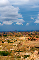 Painted Canyon Panorama. Theodore Roosevelt National Park. Image taken with a Nikon D3 and 85 mm f/2.8 PC-E lens (ISO 200, 85 mm, f/16, 1/40 sec). 5 of 9 images combined with AutoPano Giga and Dehaze Filter.