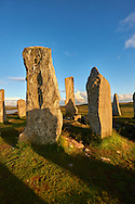 Monolth of Calanais Neolithic Standing Stone (Tursachan Chalanais) , Isle of Lewis, Outer Hebrides, Scotland. .<br /> <br /> Visit our SCOTLAND HISTORIC PLACXES PHOTO COLLECTIONS for more photos to download or buy as wall art prints https://funkystock.photoshelter.com/gallery-collection/Images-of-Scotland-Scotish-Historic-Places-Pictures-Photos/C0000eJg00xiv_iQ<br /> '<br /> Visit our PREHISTORIC PLACES PHOTO COLLECTIONS for more  photos to download or buy as prints https://funkystock.photoshelter.com/gallery-collection/Prehistoric-Neolithic-Sites-Art-Artefacts-Pictures-Photos/C0000tfxw63zrUT4