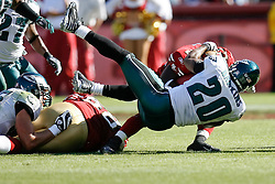 12 Oct 2008: Philadelphia Eagles FS Brian Dawkins #20 gets his body around a 49ers ball carrier during the game against the San Francisco 49ers on October 12th, 2008. The Eagles won 40-26 at Candlestick Park in San Francisco, California. (Photo by Brian Garfinkel) (Photo by Brian Garfinkel)