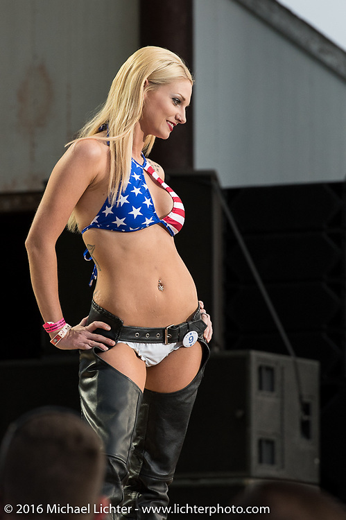 Miss Buffalo Chip competition on the main stage at the Buffalo Chip before the Miranda Lambert concert on Thursday of the annual Sturgis Black Hills Motorcycle Rally. SD, USA. Thursday, August 11, 2016. Photography ©2016 Michael Lichter.