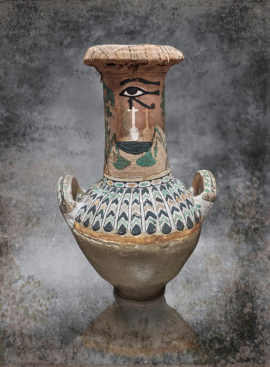 Ancient Egyptian  decorated jar sealed with linen , tomb of Kha, Theban Tomb 8 , mid-18th dynasty (1550 to 1292 BC), Turin Egyptian Museum. <br /> <br /> TT8 or Theban Tomb 8 was the tomb of Kha, the overseer of works from Deir el-Medina in the mid-18th dynasty[2] and his wife, Merit. TT8 was one of the greatest archaeological discoveries of ancient Egypt, one of few tombs of nobility to survive intact. .<br /> <br /> Visit our HISTORIC WALL ART PRINT COLLECTIONS for more photo prints https://funkystock.photoshelter.com/gallery-collection/Historic-Antiquities-Photo-Wall-Art-Prints-by-Photographer-Paul-E-Williams/C00002uapXzaCx7Y<br /> <br /> Visit our Museum ART & ANTIQUITIES COLLECTIONS to browse more photo at: https://funkystock.photoshelter.com/p/museum-antiquities
