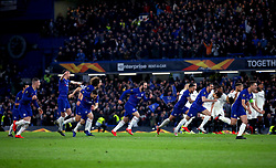 Chelsea players celebrate winning the penalty shoot out during the UEFA Europa League, Semi Final, Second Leg at Stamford Bridge, London.