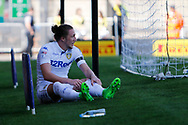 Leeds United defender Luke Ayling (2) heads just wide of the post and reacts (0-0) during the EFL Sky Bet Championship match between Burton Albion and Leeds United at the Pirelli Stadium, Burton upon Trent, England on 22 April 2017. Photo by Richard Holmes.