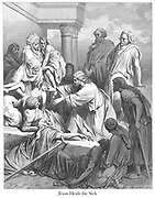 Jesus Healing the Sick [Matthew 15:31] From the book 'Bible Gallery' Illustrated by Gustave Dore with Memoir of Dore and Descriptive Letter-press by Talbot W. Chambers D.D. Published by Cassell & Company Limited in London and simultaneously by Mame in Tours, France in 1866