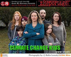 zReportage.com Story of the Week # 686 : CLIMATE CHANGE KIDS by ZUMA Press Award Winning Nature Photographer Robin Loznak : Launched November 15, 2018 : Full Multimedia Experience: Go to  to see have full experience. A group children have sued the U.S. government on climate change and its effects on them once grown up. 'Juliana v. United States' is winding it ways thru the course and the jury is out on how it will end. (Credit Image: © Robin Loznak/ZUMA Wire)