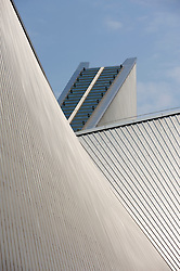 Detail of modern roof at St Mary`s Cathedral in Tokyo Japan; Architect Kenzo Tange