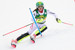 January 7, 2018 - Kranjska Gora, Gorenjska, Slovenia - Katharina Liensberger of Austria competes on course during the Slalom race at the 54th Golden Fox FIS World Cup in Kranjska Gora, Slovenia on January 7, 2018. (Credit Image: © Rok Rakun/Pacific Press via ZUMA Wire)