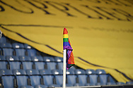 Corner flag during the EFL Sky Bet Championship match between Queens Park Rangers and Brentford at the Kiyan Prince Foundation Stadium, London, England on 17 February 2021.