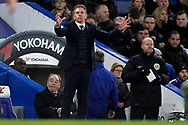Leicester City Manager Claude Puel reacts. . Premier League match, Chelsea v Leicester City at Stamford Bridge in London on Saturday 13th January 2018.<br /> pic by Steffan Bowen, Andrew Orchard sports photography.
