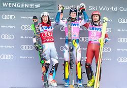19.01.2020, Lauberhorn, Wengen, SUI, FIS Weltcup Ski Alpin, Slamon, Herren, Siegerehrung, im Bild v.l. Henrik Kristoffersen (NOR, 2. Platz), Clement Noel (FRA, 1. Platz), Alexander Khoroshilov (RUS, 3. Platz) // f.l. second placed Henrik Kristoffersen of Norway race winner Clement Noel of France third placed Alexander Khoroshilov of Russian Federation during the winner ceremony for the men's Slalom of FIS ski alpine world cup at the Lauberhorn in Wengen, Switzerland on 2020/01/19. EXPA Pictures © 2020, PhotoCredit: EXPA/ Johann Groder