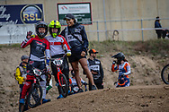 #110 (SMULDERS Laura) NED and #911 (SHRIEVER Bethany) GBR and GB coach Shanaze Reade at Round 3 of the 2020 UCI BMX Supercross World Cup in Bathurst, Australia.