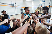 CLONDALKIN, IRELAND - August 14, 2018:  Aidan and fellow Dublin Lions player interact with young players before they put on an exhibition for the fans.<br /> <br /> Photo by: Johnnie Izquierdo