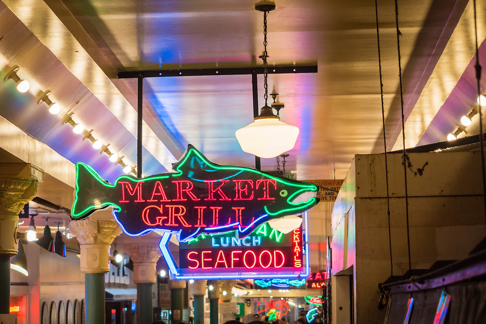 United States, Washington, Seattle, neon signs in Pike Place Market