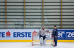 Robert Kristan and Matjaz Kopitar during practice session of Slovenian National Ice Hockey team first time in Arena Stozice before 2012 IIHF World Championship DIV I Group A in Slovenia, on April 13, 2012, in Arena Stozice, Ljubljana, Slovenia. (Photo by Vid Ponikvar / Sportida.com)