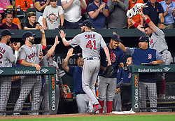 September 20, 2017 - Baltimore, MD, USA - Boston Red Sox pitcher Chris Sale (41) is congratulated by teammates after recording his 13th strikeout of the game and his 300th of the season against the Baltimore Orioles at Oriole Park at Camden Yards in Baltimore on Wednesday, Sept. 20, 2017. The Red Sox won, 9-0. (Credit Image: © Lloyd Fox/TNS via ZUMA Wire)