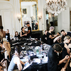 Ronald Van Der Kemp's Fashion show backstage at the Hotel D'Avaray. Paris, France. July 3, 2019.<br /> Backstage du defile de mode du designer Ronald Van Der Kemp a l'Hotel D'Avaray. Paris, France. 3 juillet 2019.