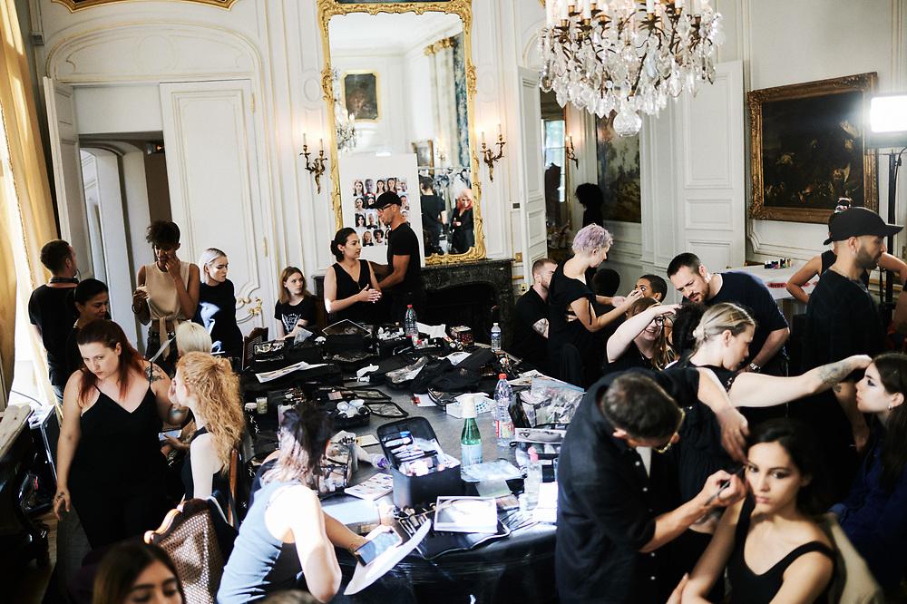 Ronald Van Der Kemp's Fashion show backstage at the Hotel D'Avaray. Paris, France. July 3, 2019.<br /> Backstage du defile de mode du designer Ronald Van Der Kemp a l'Hotel D'Avaray. Paris, France. 3 juillet 2019.