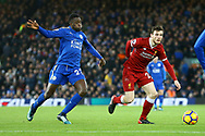 Andrew Robertson of Liverpool (r) gets away from Wilfred Ndidi of Leicester City. Premier League match, Liverpool v Leicester City at the Anfield stadium in Liverpool, Merseyside on Saturday 30th December 2017.<br /> pic by Chris Stading, Andrew Orchard sports photography.