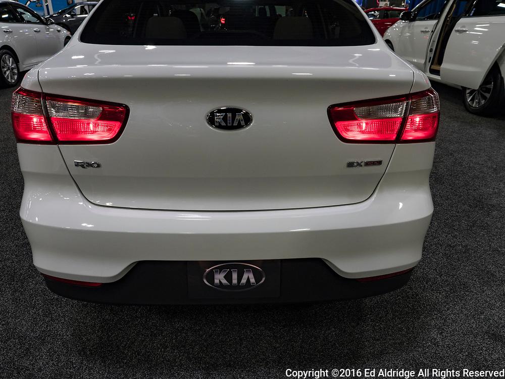 CHARLOTTE, NC, USA - NOVEMBER 17, 2016:  Kia Rio on display during the 2016 Charlotte International Auto Show at the Charlotte Convention Center in downtown Charlotte.
