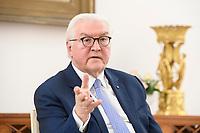 02 FEB 2021, BERLIN/GERMANY:<br /> Frank-Walter Steinmeier, Bundespraesident, waehrend einem Interview, Robert-Blum-Saal, Schloss Bellevue<br /> IMAGE: 20210202-01-057<br /> KEYWORDS: BUndespräsident