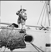 "ackroyd-P158-12 ""Swan Island ship repair yard painters. January 20, 1966"" (painting ship S. S. Portland Victory)"