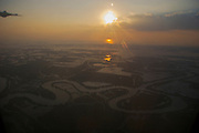 Sunset over the Gulf of Thailand near Trat, seen from aboard a Bangkok Airways ATR 72 coming from Bangkok.