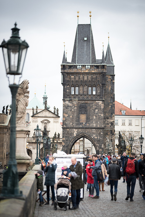 27 October 2017, Prague, Czech Republic: On Charles Bridge in Prague.