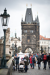 27 October 2017, Prague, Czech Republic: On Charles Bridge in Prague.
