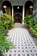 Tiled front entrance to restored Chinese-Baroque styled terraced house. Emerald Hill, Singapore