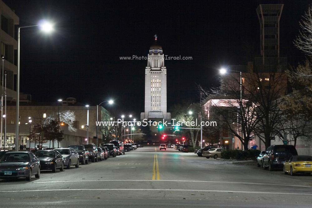 Lincoln, Nebraska NE USA, Nebraska state capitol building, Night shot