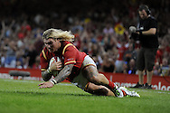 Richard Hibbard of Wales scores his teams 1st try. Wales v Ireland rugby union international, RWC warm up friendly match at the Millennium Stadium in Cardiff, South Wales on Saturday 8th August  2015.<br /> pic by Andrew Orchard, Andrew Orchard sports photography.