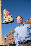 Environmental portrait of Bentonville city planning commission director Troy Galloway on the square in downtown Bentonville, Arkansas.