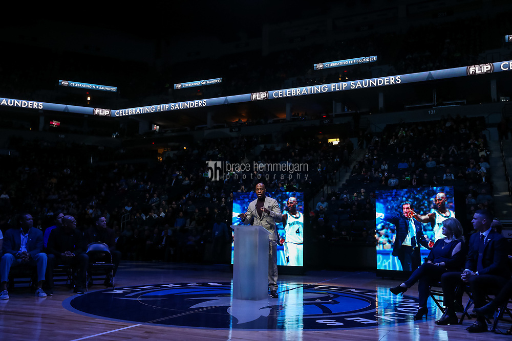 Feb 15, 2018; Minneapolis, MN, USA; Former player Chauncey Billups speaks during an event honoring former Minnesota Timberwolves coach Flip Saunders prior to the game against the Los Angeles Lakers at Target Center. Mandatory Credit: Brace Hemmelgarn-USA TODAY Sports