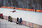 Sabrina Cakmakli, Canada, during the womens skiing halfpipe finals at the Pyeongchang 2018 Winter Olympics on February 20th 2018, at the Phoenix Snow Park in Pyeongchang-gun, South Korea