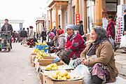Woman selling apples at the busy Siab Dekhkan Bazaar on the 21st February 2014 in Samarkand, Uzbekistan.