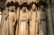 Gothic statues  from the Cathedral of Chartres, France. . A UNESCO World Heritage Site. .<br /> <br /> Visit our MEDIEVAL ART PHOTO COLLECTIONS for more   photos  to download or buy as prints https://funkystock.photoshelter.com/gallery-collection/Medieval-Middle-Ages-Art-Artefacts-Antiquities-Pictures-Images-of/C0000YpKXiAHnG2k