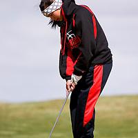 041813       Brian Leddy<br /> Grants Pirate Danielle Rael putts during Thursday's Grants Invitational Golf Tournament at Coyote del Malpais golf course.
