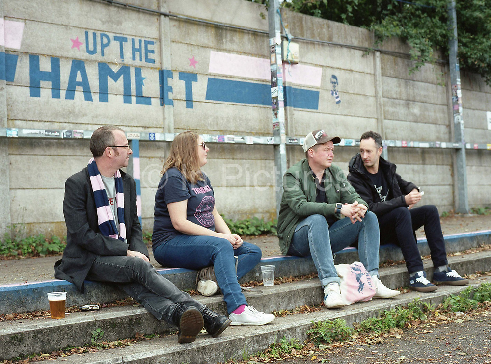 Fans gather ahead of the Dulwich Hamlet FC vs Sierra Leone, charity game, at Champion Hill on 17th September 2017 in South London in the United Kingdom. Sierra Leonean ex-footballers in London played against Dulwich Hamlet fc in a fundraiser match at Champion Hill in aid for victims of Freetown mudslide victims in Sierra Leone, Africa.
