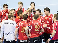 Adrian Bruengger, head coach of Winterthur with players during handball match between RK Gorenje Velenje (SLO) and Pfadi Winterthur (SUI) in Group Phase of EHF European Cup 2014/15, on March 8, 2015 in Rdeca dvorana, Velenje, Slovenia. Photo by Vid Ponikvar / Sportida