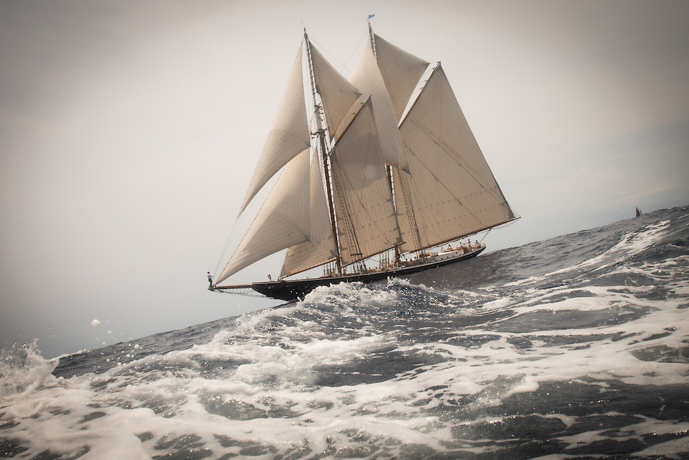 The Columbia of 1923 was a fishing schooner built at the Arthur Dana Story shipyard in Essex, MA, from adesign by Starling Burgess. She was famous for her speed and seaworthiness and for winning international schooner races, including one against Bluenose.Columbiawas lost with all hands in a hurricane off SableIsland, Nova Scotia in 1927. The Columbia of 2014 was recently launched atEastern Shipbuilding in Panama City, FL. The 141 foot long schoonerwas also built to the same design as her namesake, although the new Columbia is built as a yacht rather than as a fisherman and of steel rather than wood. Burgess' planswere adapted for steel construction by Gilbert Associates, naval architects in Boston.