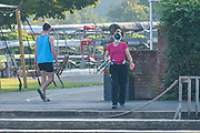 Henley-On-Thames, Berkshire, UK., Wednesday,  12/08/2020, Masked  Athletes, Crews boating from Leander Club for training,  [ Mandatory Credit © Peter Spurrier/Intersport Images], , Training during, the  coronavirus (COVID-19), pandemic,