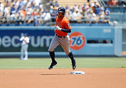 August 5, 2018 - Los Angeles, CA, U.S. - LOS ANGELES, CA - AUGUST 05: Houston Astros outfield George Springer (4) rounds second base after hitting a home run during the game against the Los Angeles Dodgers on August 05, 2018, at Dodger Stadium in Los Angeles, CA. (Photo by Adam Davis/Icon Sportswire) (Credit Image: © Adam Davis/Icon SMI via ZUMA Press)