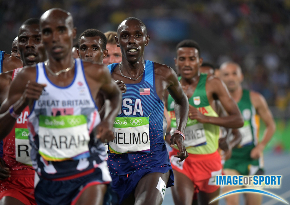 Aug 20, 2016; Rio de Janeiro, Brazil; Paul Chelimo (USA) places second in the 5,000m in 13:03.90 during the 2016 Rio Olympics at Estadio Olimpico Joao Havelange. <br /> <br /> *