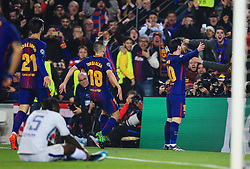 Lionel Messi of Barcelona celebrates after scoring his sides third goal - Mandatory by-line: Matt McNulty/JMP - 14/03/2018 - FOOTBALL - Camp Nou - Barcelona, Catalonia - Barcelona v Chelsea - UEFA Champions League - Round of 16 Second Leg