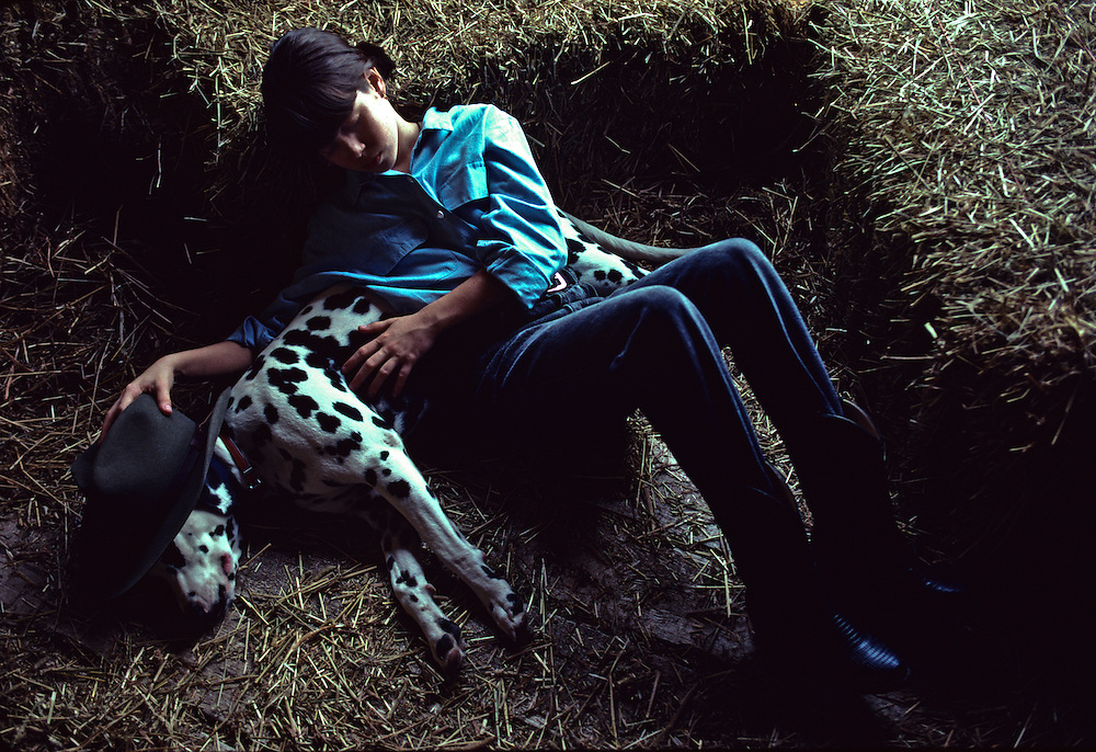 A young girl and a dalmatian in a barn.