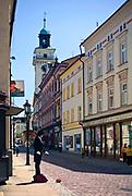 Mim na ulicy Głębokiej w Cieszynie, Polska<br /> Mim on the Głęboka Street in Cieszyn, Poland